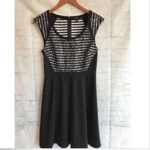 Apt 9 Black White Striped Lace Overlay Dress